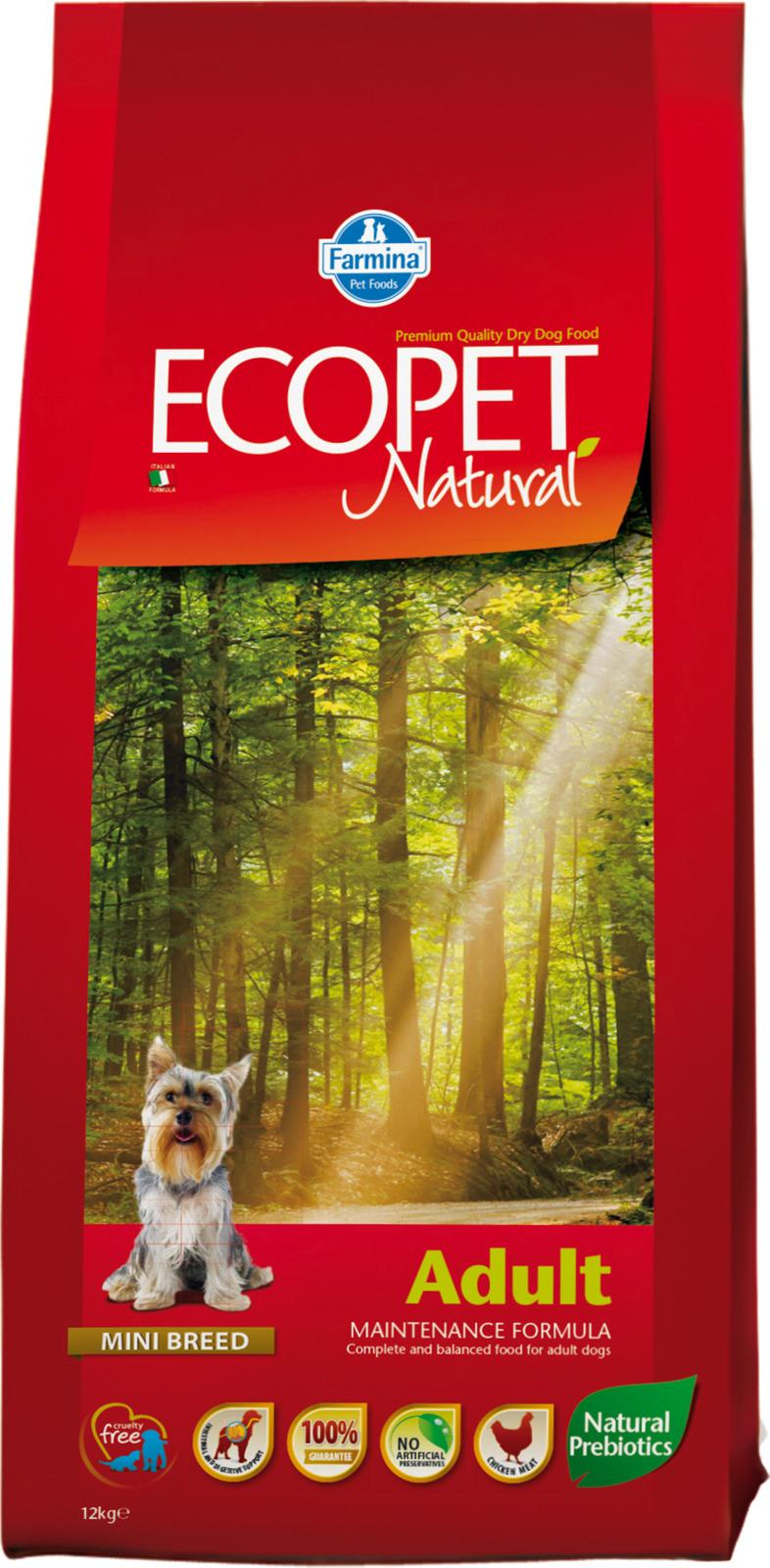 Корм сухой Farmina Ecopet Natural, для взрослых собак мелких пород, с курицей, 12 кг