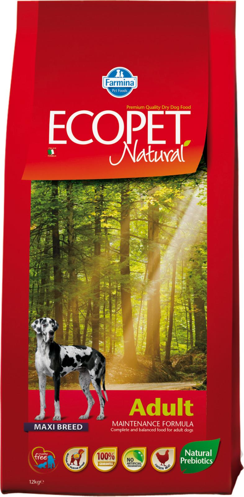 Корм сухой Farmina Ecopet Natural, для взрослых собак крупных пород, с курицей, 12 кг