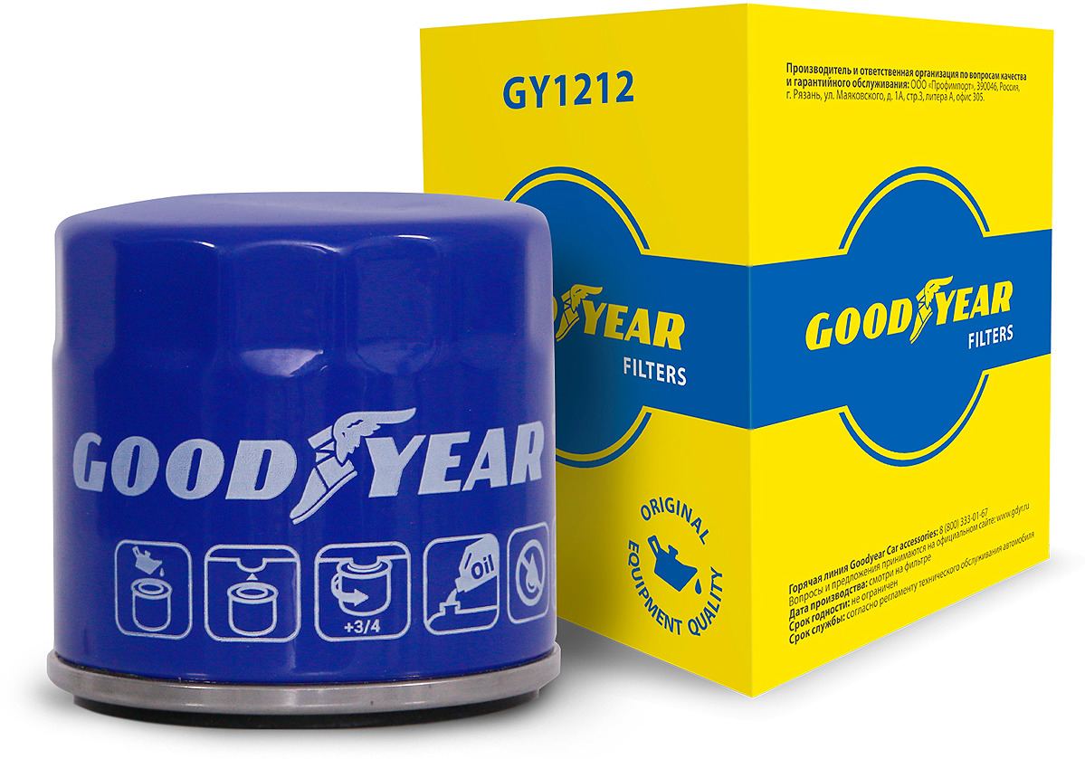 Фильтр масляный Goodyear, GY1212, синий цены
