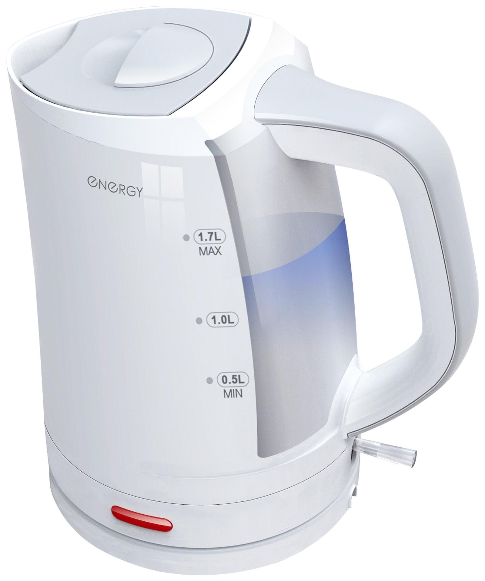 Электрический чайник ENERGY E-220, 54 153069, белый energy чайник energy e 226 1 7л диск белый