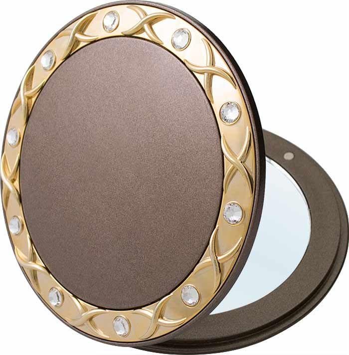 Зеркало карманное Weisen компактное с 3Х увеличением, с кристаллами T 535 m BRZ/G Bronze&Gold, бронза, золотой зеркало timo аура белый с золотом au z 100 m b g