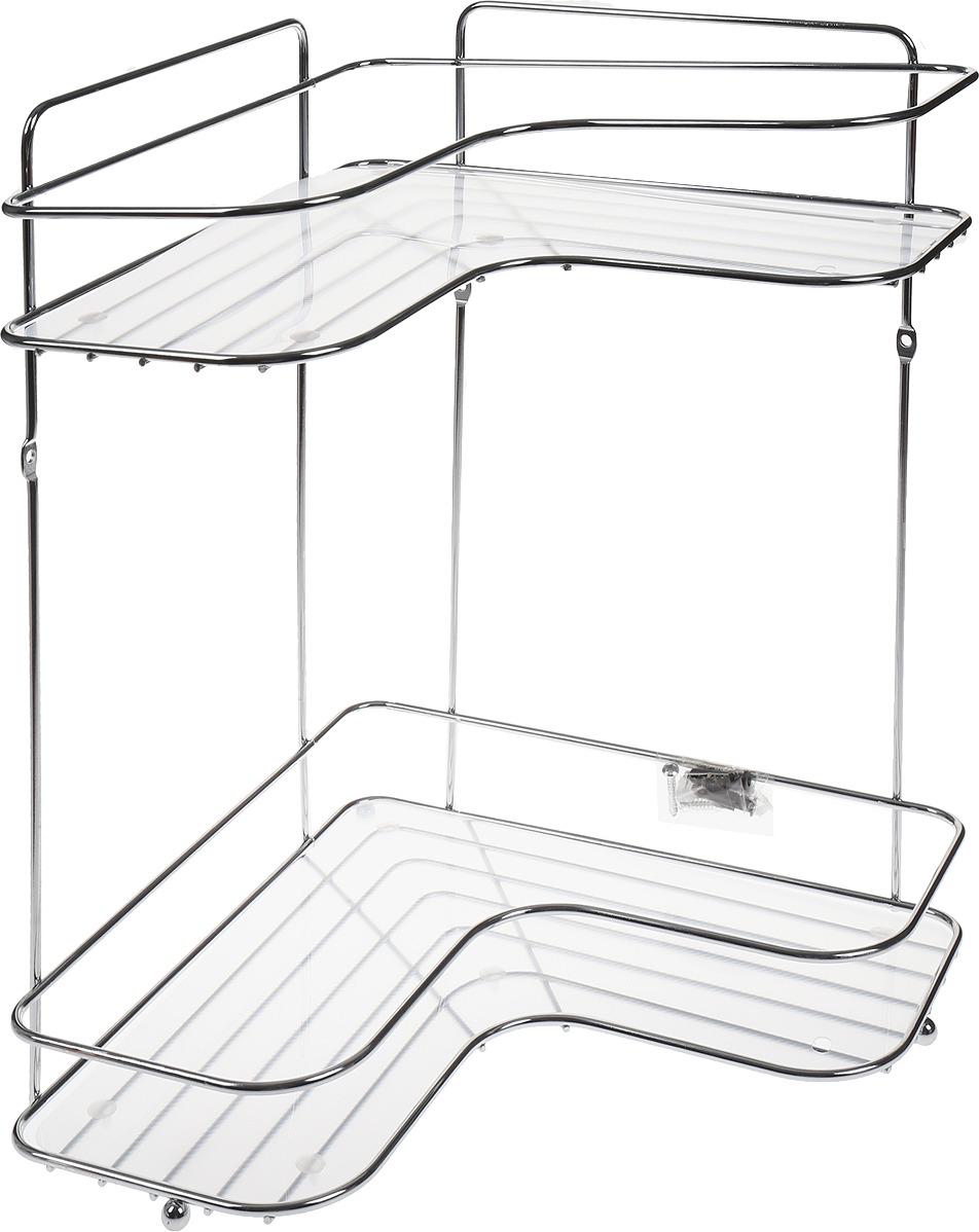 Полка для ванной Swensa Премиум, 2-ярусная с подложкой, угловая, цвет: хром полка для ванной swensa 3 ярусная цвет хром