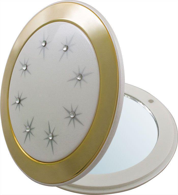 Зеркало карманное Weisen компактное с 3Х увеличением, с кристаллами NT 555 SD PER/G WPearl&Gold, белый, золотой зеркало timo аура белый с золотом au z 100 m b g