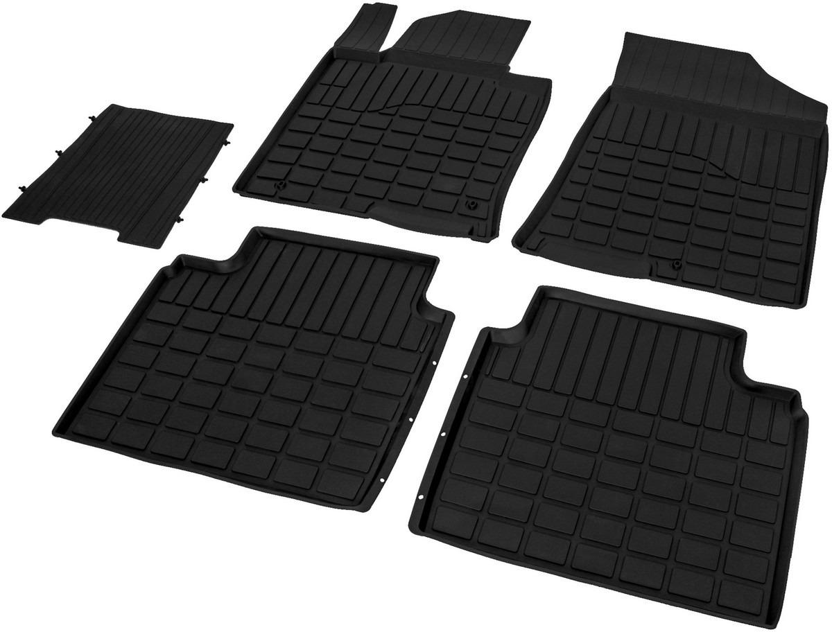 Коврики салона литьевые Rival для Hyundai Sonata седан 2017-н.в./Kia Optima седан 2016-н.в., резина, с крепежом, с перемычкой, 5 шт. 6280700162807001Прочные и долговечные коврики Rival, изготовленные из высококачественного и экологичного сырья, полностью повторяют геометрию салона вашего автомобиля. - Надежная система крепления, позволяющая закрепить коврик на штатные элементы фиксации, в результате чего отсутствует эффект скольжения по салону автомобиля. - Высокая стойкость поверхности к стиранию. - Специализированный рисунок и высокий борт, препятствующие распространению грязи и жидкости по поверхности ковра. - Перемычка задних ковров в комплекте предотвращает загрязнение тоннеля карданного вала. - Коврики произведены из первичных материалов, в результате чего отсутствует неприятный запах в салоне автомобиля. - Высокая эластичность материала позволяет беспрепятственно эксплуатировать коврики при температуре от -45°C до +45°C.