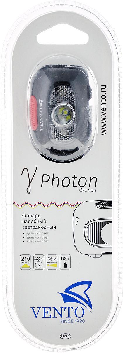 Фонарь налобный Vento Photon, светодиодный, цвет: черный устройство спусковое vento восьмерка рогатая цвет черный