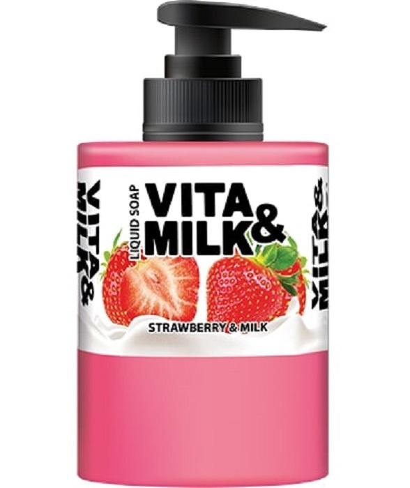 Жидкое мыло Vita&Milk Клубника и молоко 300 мл