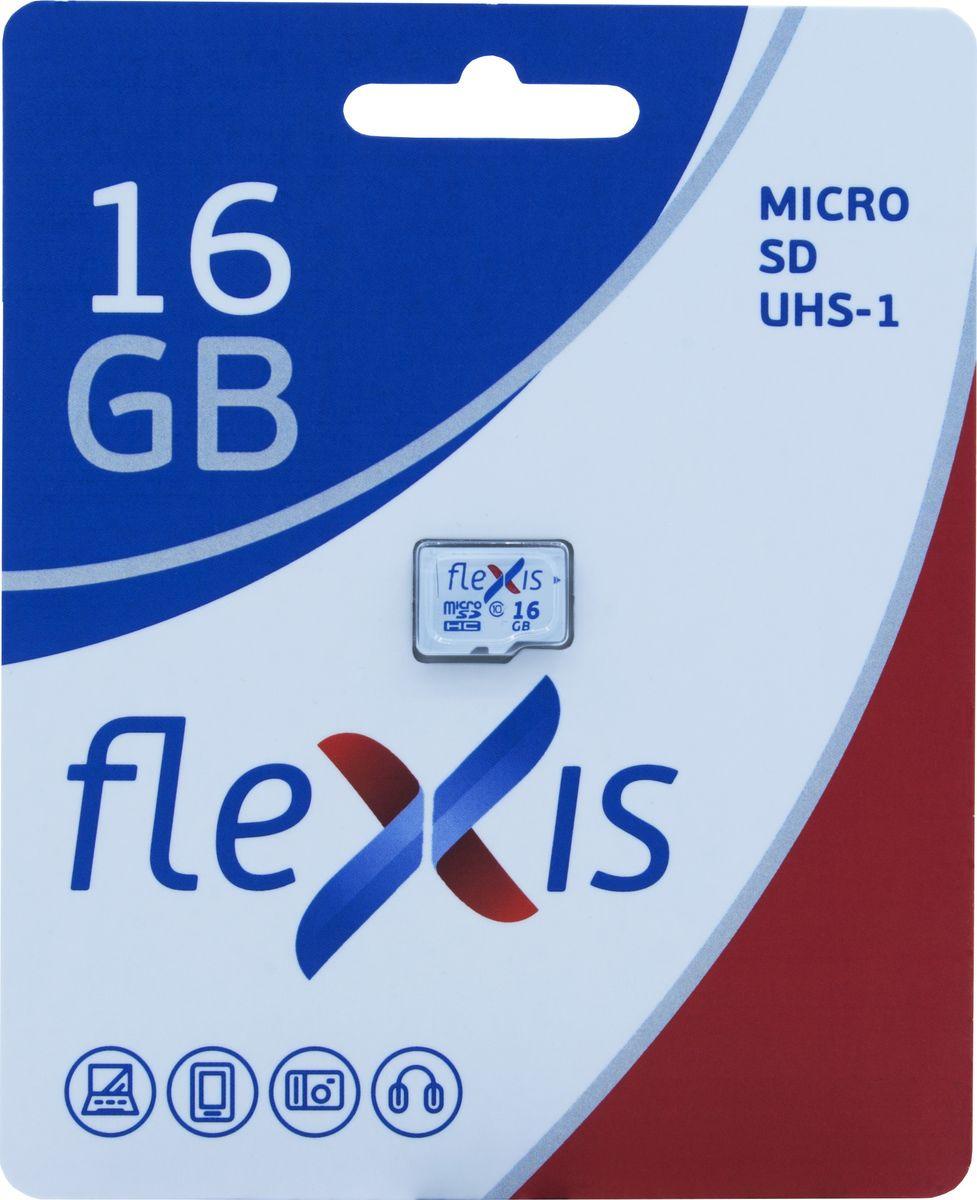Карта памяти Flexis microSDHC 16GB UHS-I Class 10 U1 без адаптера, FMSD016GU1, белый, черный