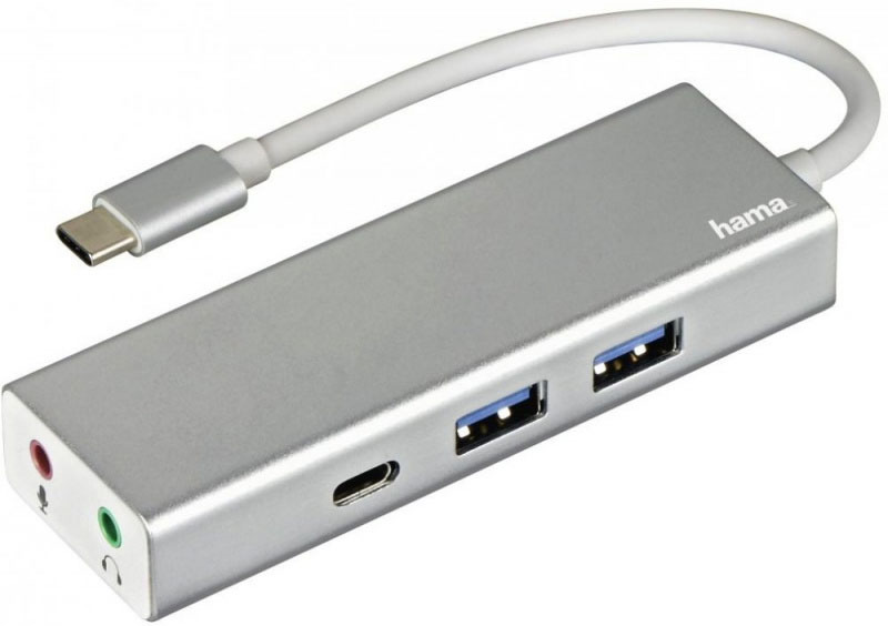 Разветвитель Hama Aluminium USB-C, 3 порта, цвет серебристый