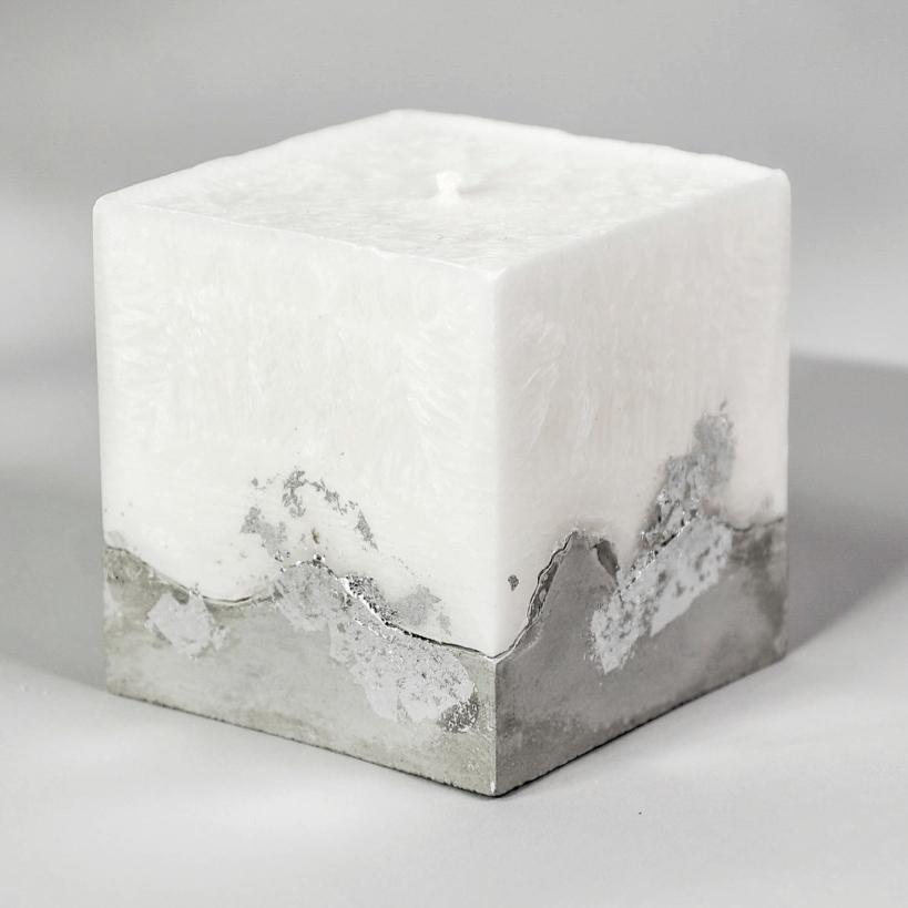 Свеча декоративная Мастерская ПТА Свеча интерьерная, кокосовый воск, бетон, белый цены онлайн