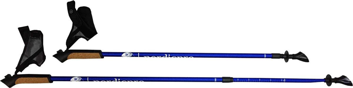 Палки для скандинавской ходьбы NordicPro, телескопические, цвет: черный, L-XL, длина 80-135 см, 2 палки для скандинавской ходьбы komperdell carbon forza длина 120 см 2 шт