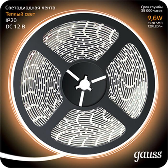 Лента Gauss LED 2835/120-SMD, теплый белый, 5 м led лента 220в 6 5x17мм ip67 smd 5730 120 led м теплый белый 100м