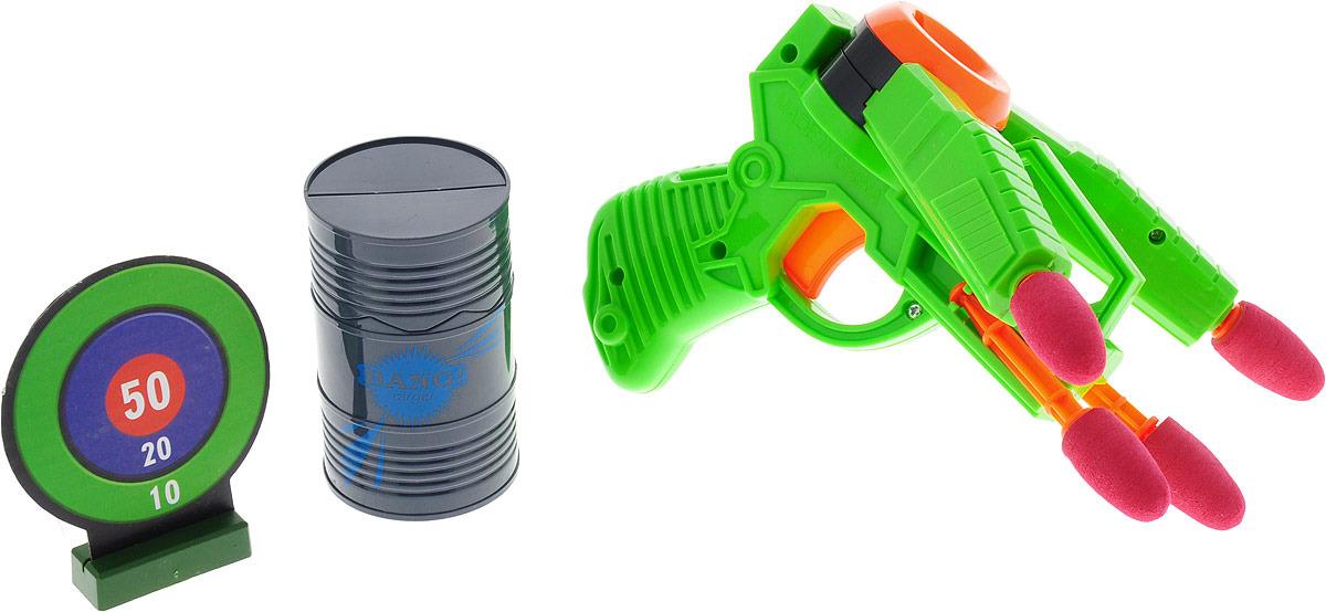 Пистолет Двойной выстрел, 2894992, зеленый, с мишенями, стреляет мягкими пулями автомат c мягкими светящимися пулями 201055