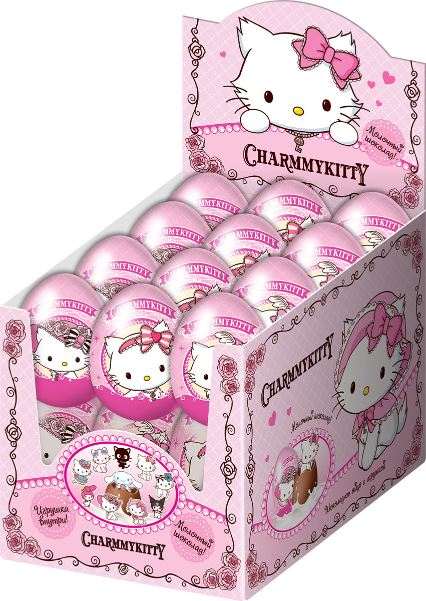 Шоколадное яйцо Конфитрейд Charmmy Kitty, с сюрпризом, 24 шт по 20 г