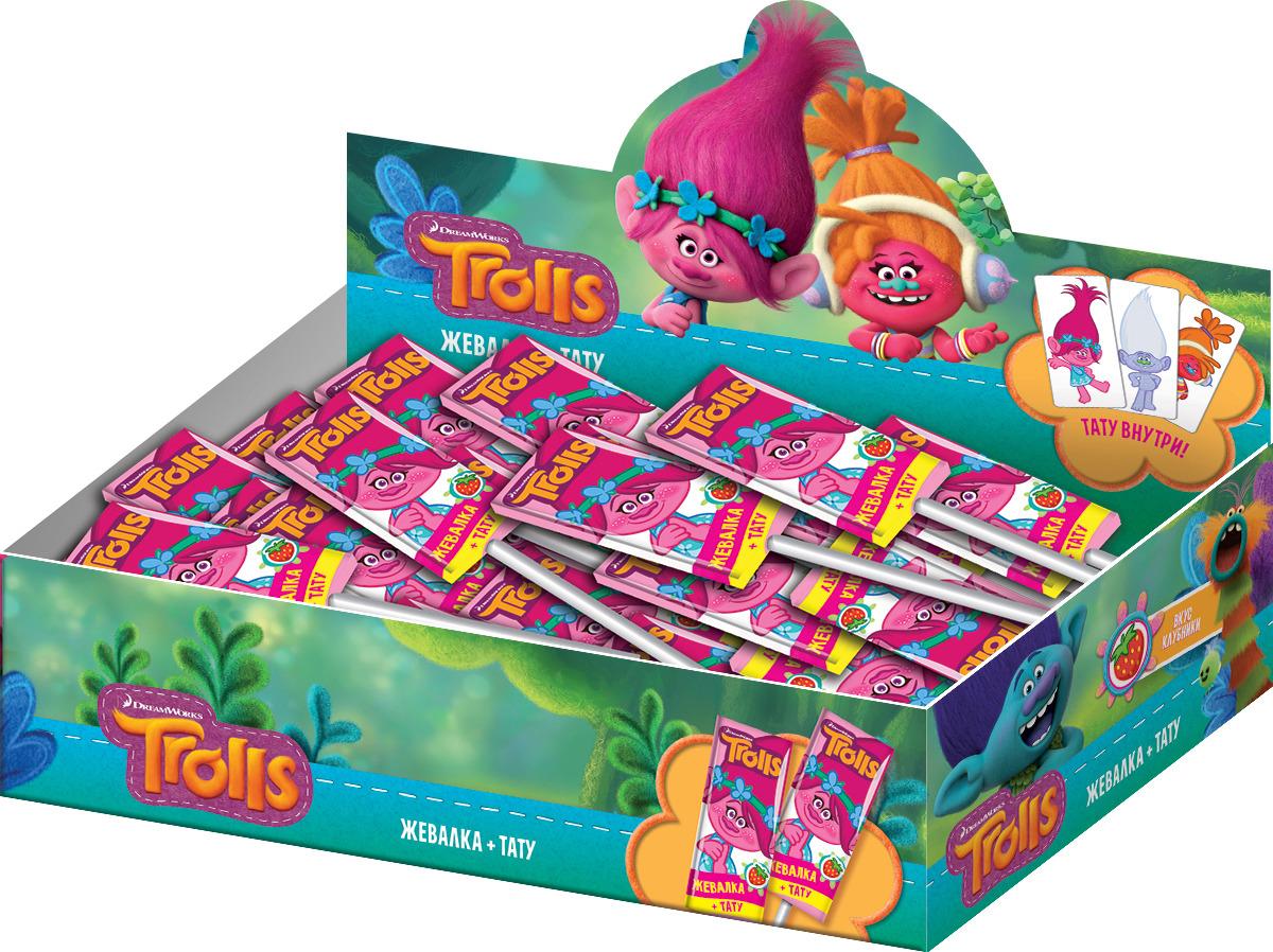 Жевательная резинка Конфитрейд Trolls, со вкусом клубники, 24 шт х 14 г жевательная резинка конфитрейд trolls вкусношарик с начинкой 100 шт по 4 г