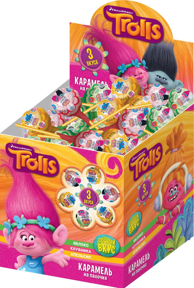 Леденцы Конфитрейд Trolls, со вкусом фруктов, 1,14 кг конфитрейд trolls карамель леденцовая на палочке с пастой со вкусом шоколада 24 шт по 17 г
