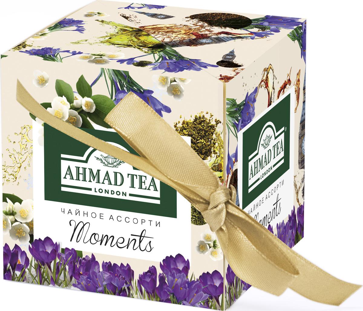 Набор Ahmad Tea Моментс: черный листовой чай, со вкусом и ароматом бергамота, 30 г + зеленый листовой чай, со вкусом и ароматом жасмина, 30 г shere tea престижная коллекция pekoe чай черный листовой 250 г