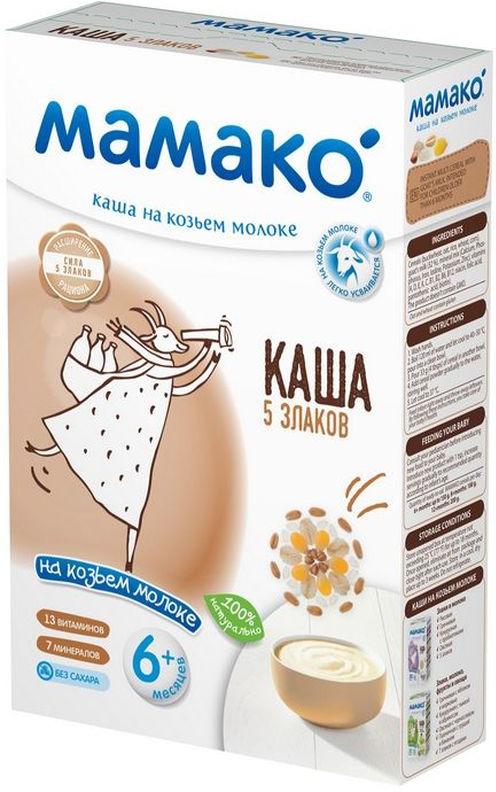 Мамако каша 5 злаков на козьем молоке, 200 гУТ-00000009Каша Мамако 5 злаков для детей старше 6 месяцев – уникальная рецептура для обогащения рациона и полноценного развития. Содержит: - 100% натуральные ингредиенты - Цельное зерно злаков - Комплекс витаминов и минералов - 32% козьего молока Особенности: - Не содержит коровьего молока - Без сахара - Без крахмала - Без растительных масел - Без консервантов, красителей и ароматизаторов - Без ГМО Полезные свойства: - Пять видов злаков объединяют полезные свойства всех зерновых культур, заряжают малыша энергией и помогают ему расти крепким и здоровым. - Каша 5 злаков содержит 67 % медленных углеводов. За счет их постепенного превращения в глюкозу детский организм надолго обеспечивается энергией. - Цельные зерна овса и пшеницы в составе каши улучшают обмен веществ и нормализуют работу кишечника. - Все каши Мамако обогащены 13 витаминами и 7 минералами, включая комплекс Ca-Fe-I для профилактики рахита, железодефицитной анемии и йододефицита, встречающихся у 30—60 % детей раннего возраста (по данным Союза педиатров России). - В каждой каше Мамако содержится 32 % козьего молока, которое за счет своих структурных свойств увеличивает биодоступность кальция и железа на 20%.