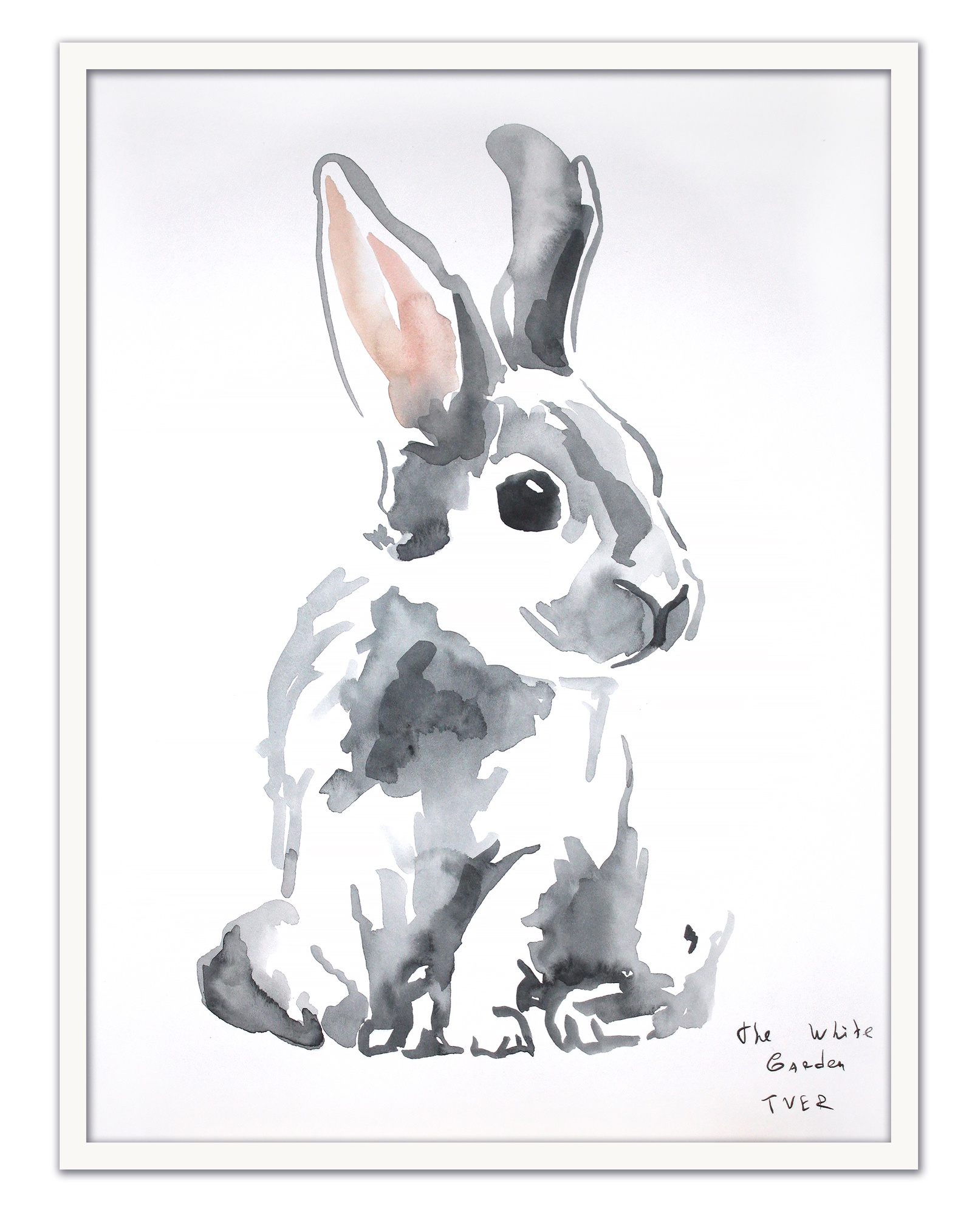 Картина The White Garden TVER кролик, белый, серый картина фото
