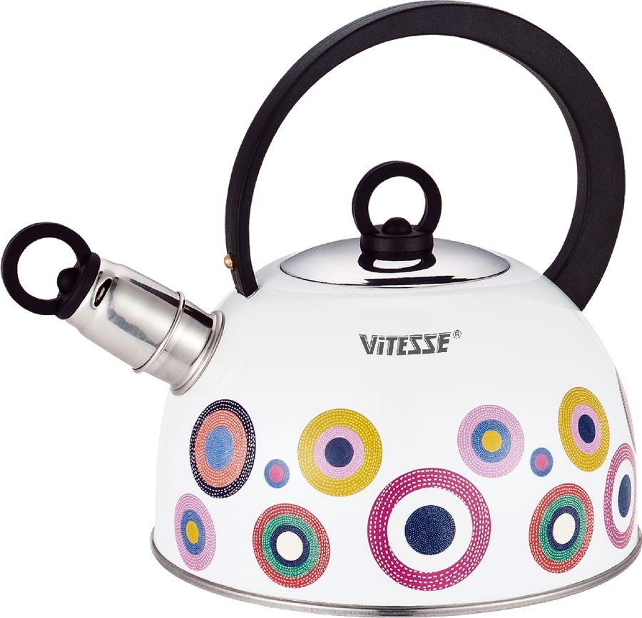 Чайник Vitesse, vs-7816, белый, со свистком, 2,5 лvs-7816Чайник со свистком (2,5л)Материал корпуса - Высококачественная нержавеющая сталь цветным термостойким рисункомДно - ферромагнитное капсулированноеСвисток - съемныйРучка - Фиксированное положение ручкиМатериал ручки - Бакелит