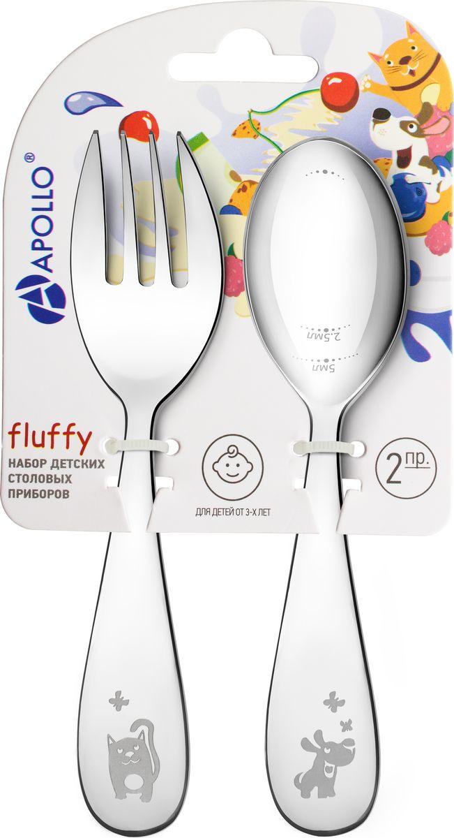 Набор детских столовых приборов Apollo Fluffy, FLF-01, серебристый, 2 предмета набор детских столовых приборов apollo kiddy цвет фиолетовый 2 предмета