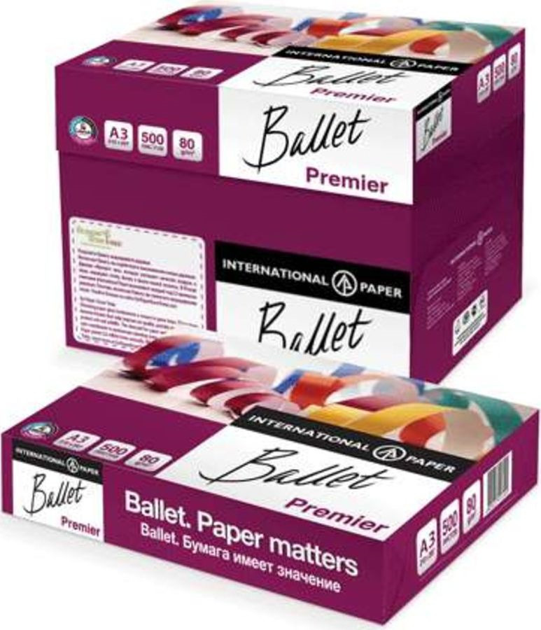 Бумага для принтера Ballet Premier, формат А4, 66047, 500 листов х 5 шт