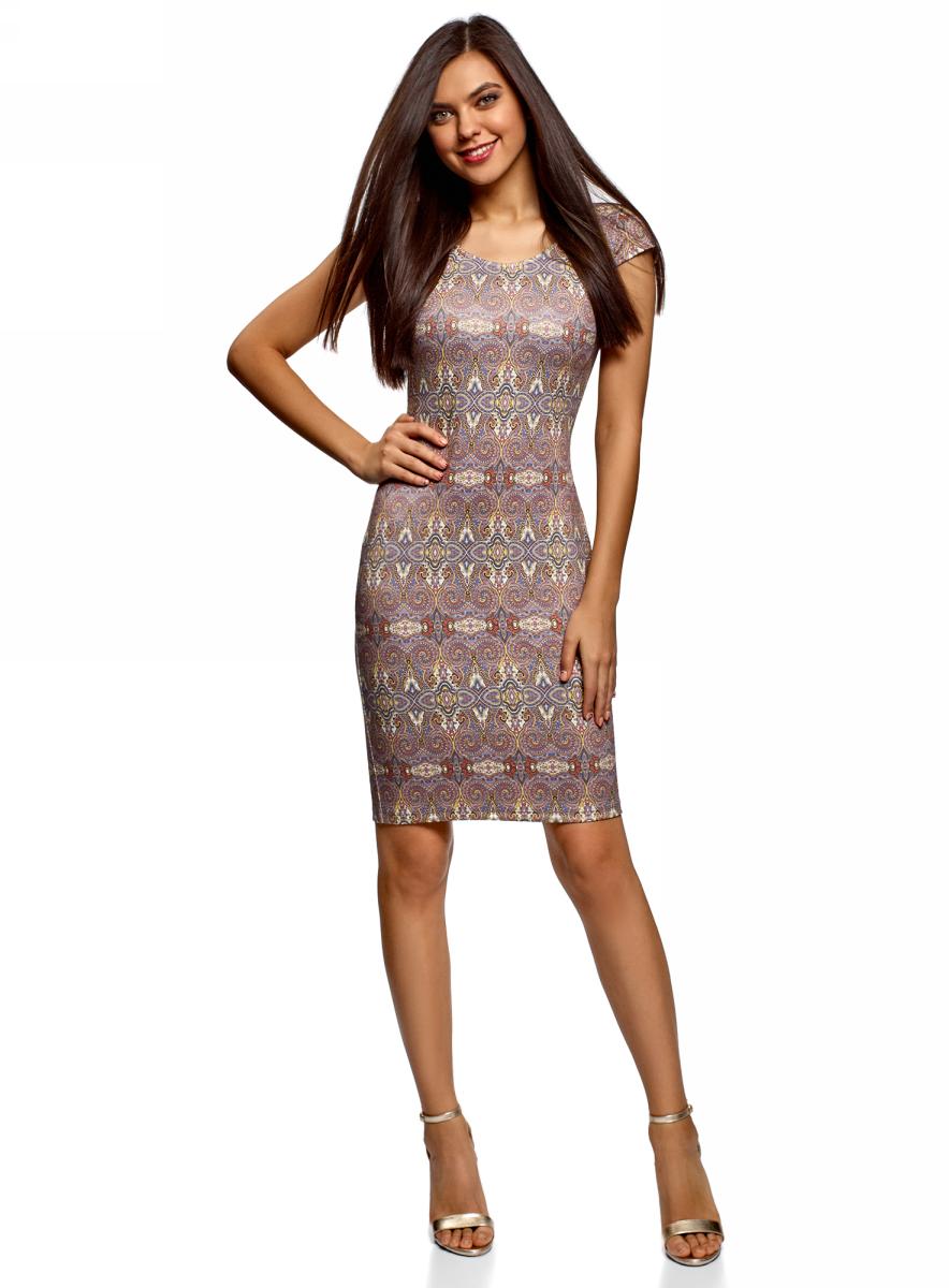 Платье oodji, цвет: желтый, сиреневый. 14001206/42588/5280G. Размер XXL (52)14001206/42588/5280GТрикотажное платье-футляр от oodji с короткими рукавами и округлым вырезом. Длина модели выше колена. Изюминка этого платья – глубокий интригующий вырез на спинке. Качественный, приятный на ощупь материал не вытягивается, не образует катышков, не мнется и быстро сохнет. Облегающий крой подчеркивает изгибы фигуры. Комфортное и универсальное платье-футляр гармонично впишется в ваш гардероб. Оно прекрасно подойдет для теплой погоды в сочетании с босоножками или сандалиями и джинсовым жилетом. Сумка-мессенджер с бахромой и стильные солнечные очки удачно дополнят комплект. Платье хорошо смотрится с короткой курткой из денима или удлиненным кардиганом. Обувь на каблуках зрительно удлинит ноги, а удобные кеды или слипоны придадут образу спортивную нотку. Оригинальное и практичное трикотажное платье станет одной из самых любимых вещей в вашем гардеробе.