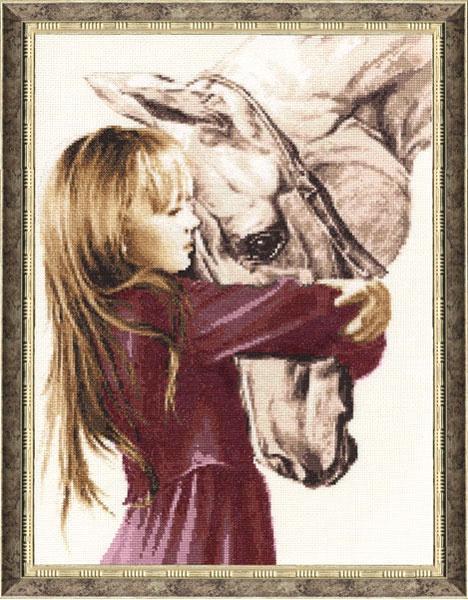 """Набор для вышивания Золотое Руно """"Девочка с лошадью"""""""