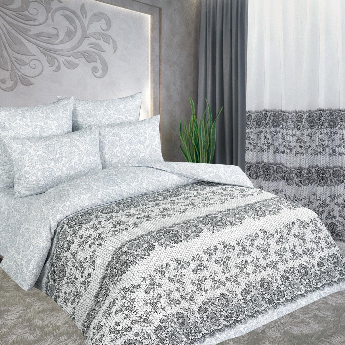 Комплект белья Amore Mio Нежность, евро, наволочки 70x70, цвет: кремовый, коричневый. 88543