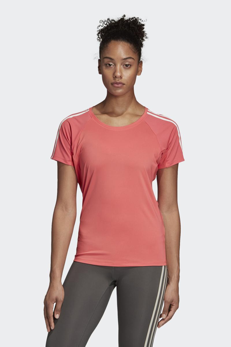Футболка женская Adidas Trng Tee 3S, цвет: розовый. DU1327. Размер L (48/50)DU1327