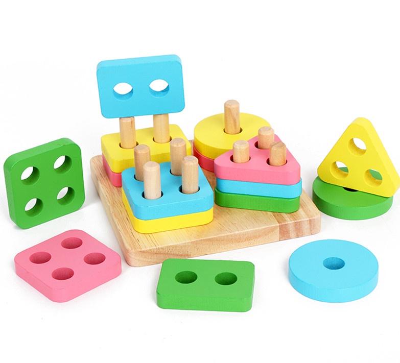 Головоломка BeeZee Toys Пирамидка-головоломка Цвета и формы, геометрические блоки Монтессори, обучающая игра, 040-Д игра головоломка meffert s скьюб экстрим