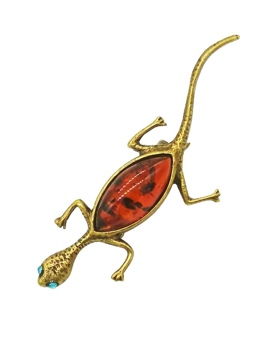 Брошь бижутерная ForMyGirl.ru ИМ108 женское украшение, Латунь, Янтарь, 5.5 см, ИМ108 золотая подвеска в форме ящерицы