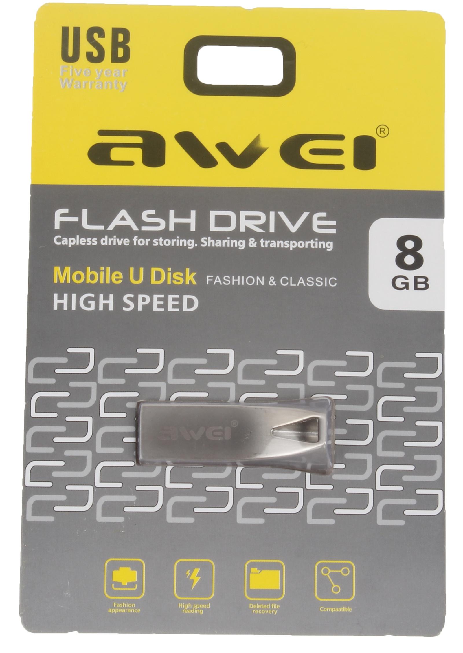 USB Флеш-накопитель Awei USB 8 Gb, AWUS8, серебристый
