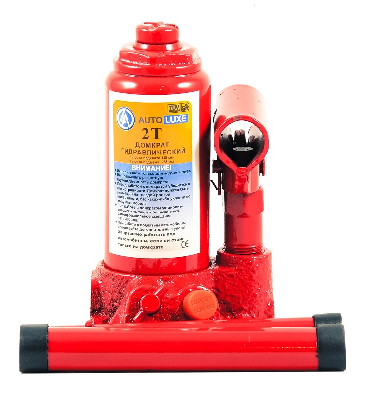 Гидравлический домкрат Autoluxe грузоподъемностью до 2 тонн, красный гидравлический домкрат autoluxe подкатной грузоподъемность до 3 тонн красный