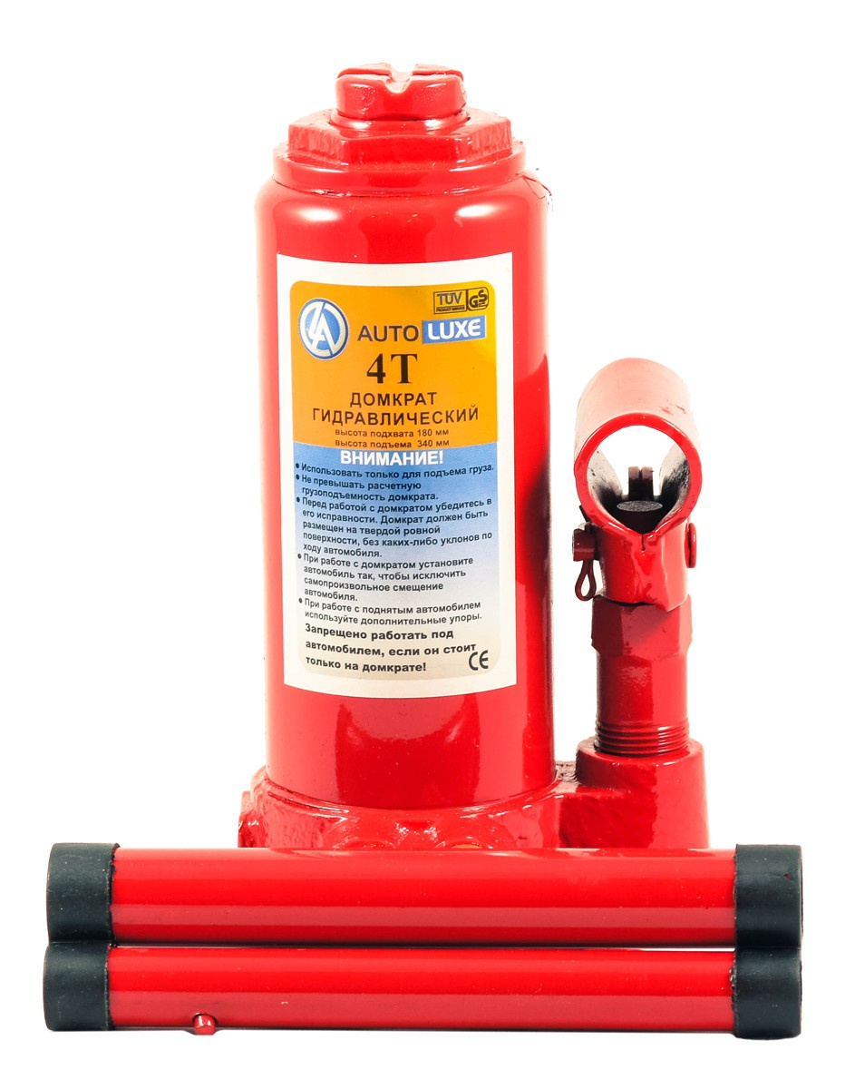 Гидравлический домкрат Autolixe грузоподъёмностью до 4 тонн, красный гидравлический домкрат autoluxe подкатной грузоподъемность до 3 тонн красный