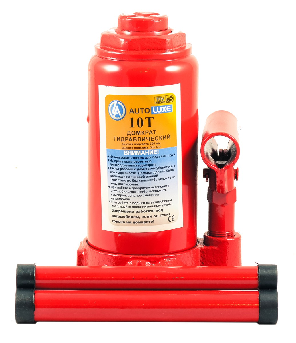 Гидравлический домкрат Autoluxe грузоподъемностью до 10 тонн, красный