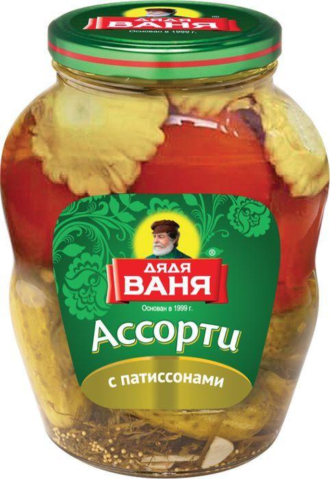 Овощи консервированные Дядя Ваня Ассорти: огурцы, томаты, патиссоны, 1,8 кг88751Огурцы и томаты представлены в удачном трио с патиссонами, выращенными на собственных полях в Волгоградской области. Изготовлено по ГОСТ.