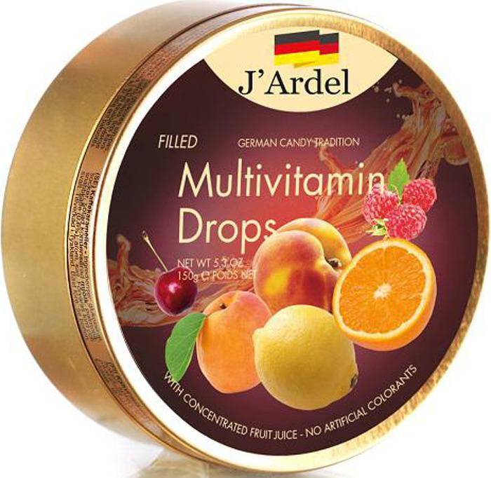 Леденцы J'Ardel Мультивитамин, с фруктовой начинкой, 150 г сhokocat пилюли от лени леденцы для рассасывания 18 г