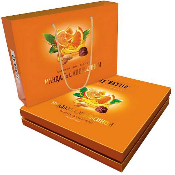 Конфеты Династия Миндаль с апельсином, шоколадные, в сумочке, 205 г умные сладости конфеты чернослив с апельсином глазированные 210 г