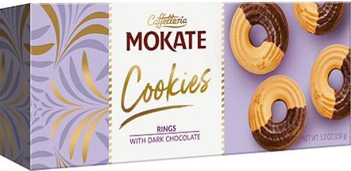 Печенье Mokate Сдобное, песочные кольца в темном шоколаде, 150 г