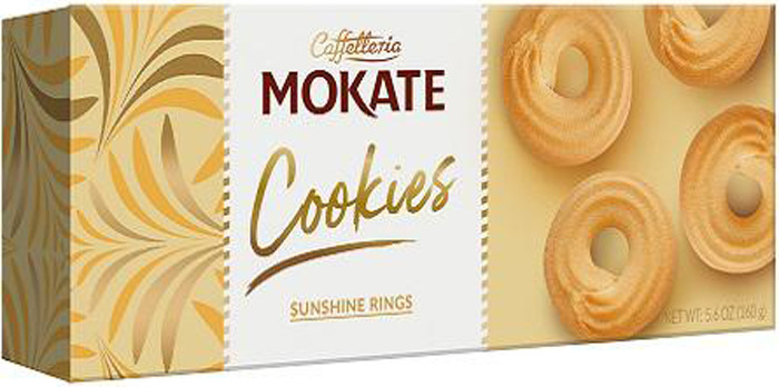 Печенье Mokate Сахарные кольца, сдобное, песочное, 160 г