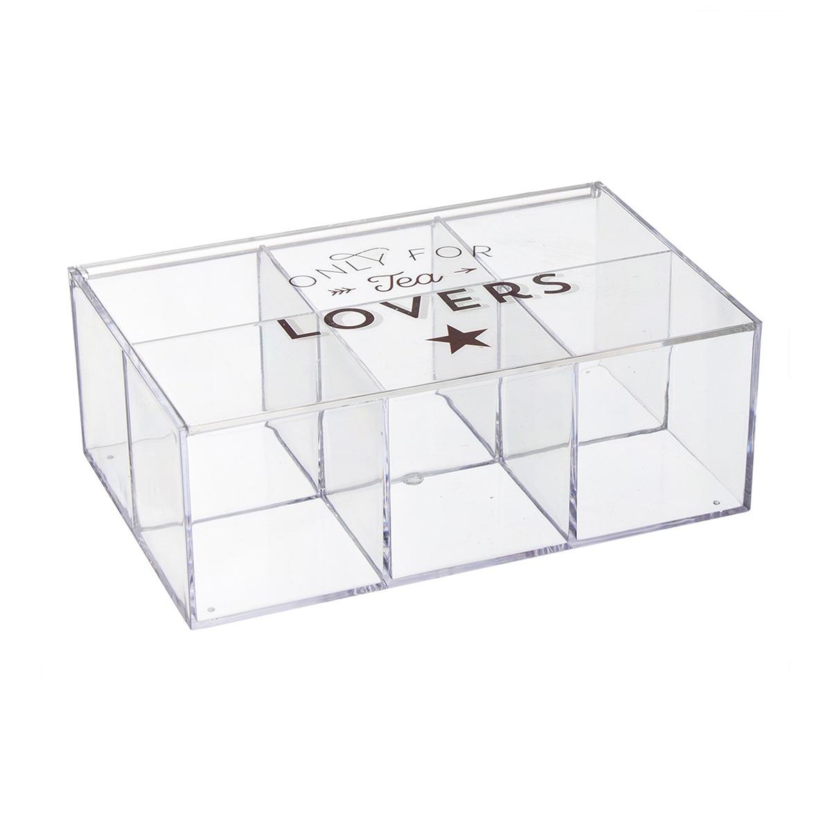 Коробка для чайных пакетиков D'casa Bistro, 6 секций, 253270, прозрачный