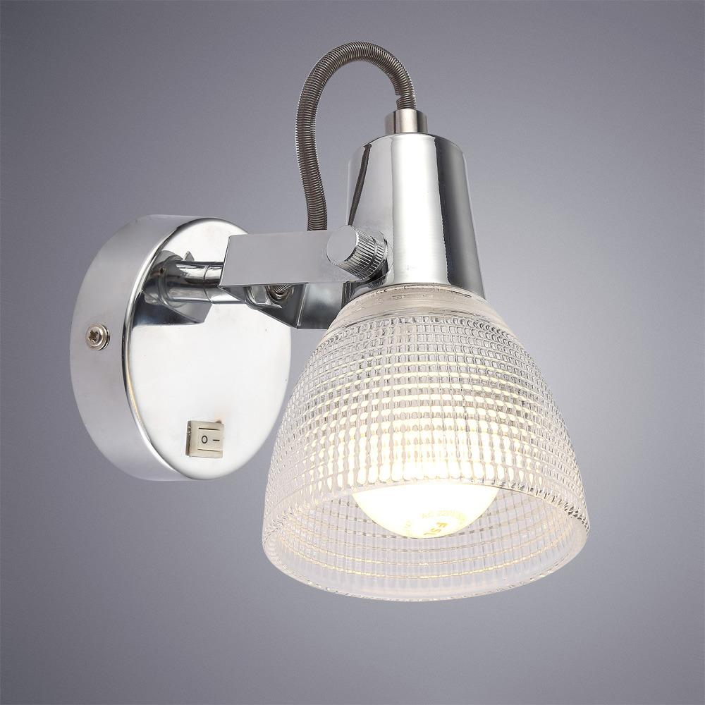 Настенный светильник Arte Lamp Ricardo, A1026AP-1CC, серый металликA1026AP-1CCПревосходная модель от итальянской компании Arte Lamp. Светильник Ricardo сделает ваш интерьер современным, стильным и запоминающимся!Материал основания: металл гальванизированныйДиаметр основания: 80 мм