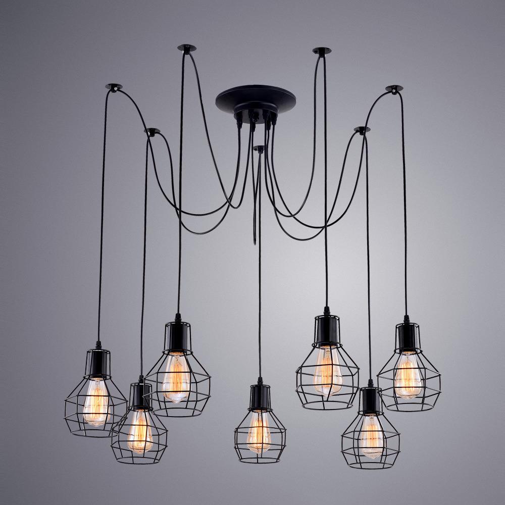 Подвесной светильник Arte Lamp Spider, A1109SP-7BK, черный