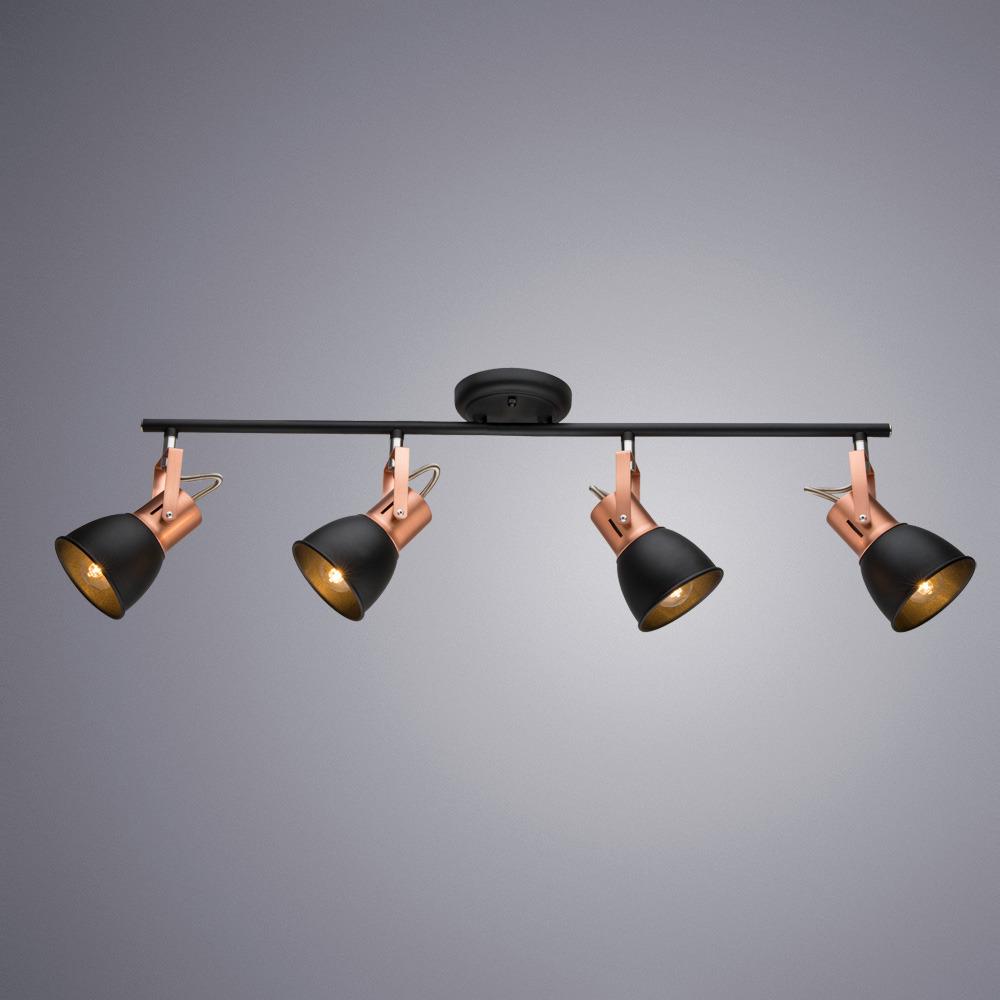 Потолочный светильник Arte Lamp Jovi, A1677PL-4BK, черныйA1677PL-4BKПотолочный светильник итальянской компании Arte Lamp, выполнен в стиле Технический. Основной материал светильника - Металл. Типом крепления осветительного прибора является Потолочное. Предусмотрено использование ламп типа Лампа Галогеновая, с цоколем E14. Количество ламп - 1. Мощность ламп - до 35 Ватт. Конструкция и степень пылевлагозащищенности прибора позволяют использование в жилых помещениях.