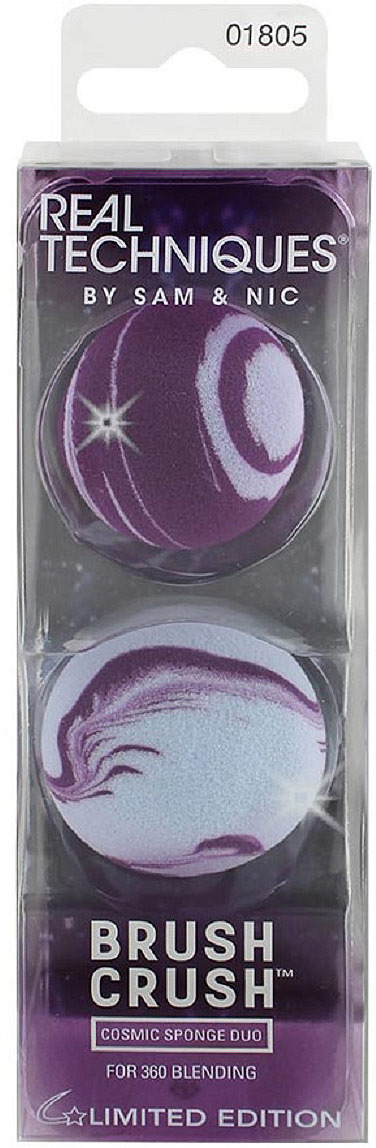 Спонж для макияжа Real Techniques Brush Crush 2 Cosmic Sponge Duo, фиолетовый, 2 шт