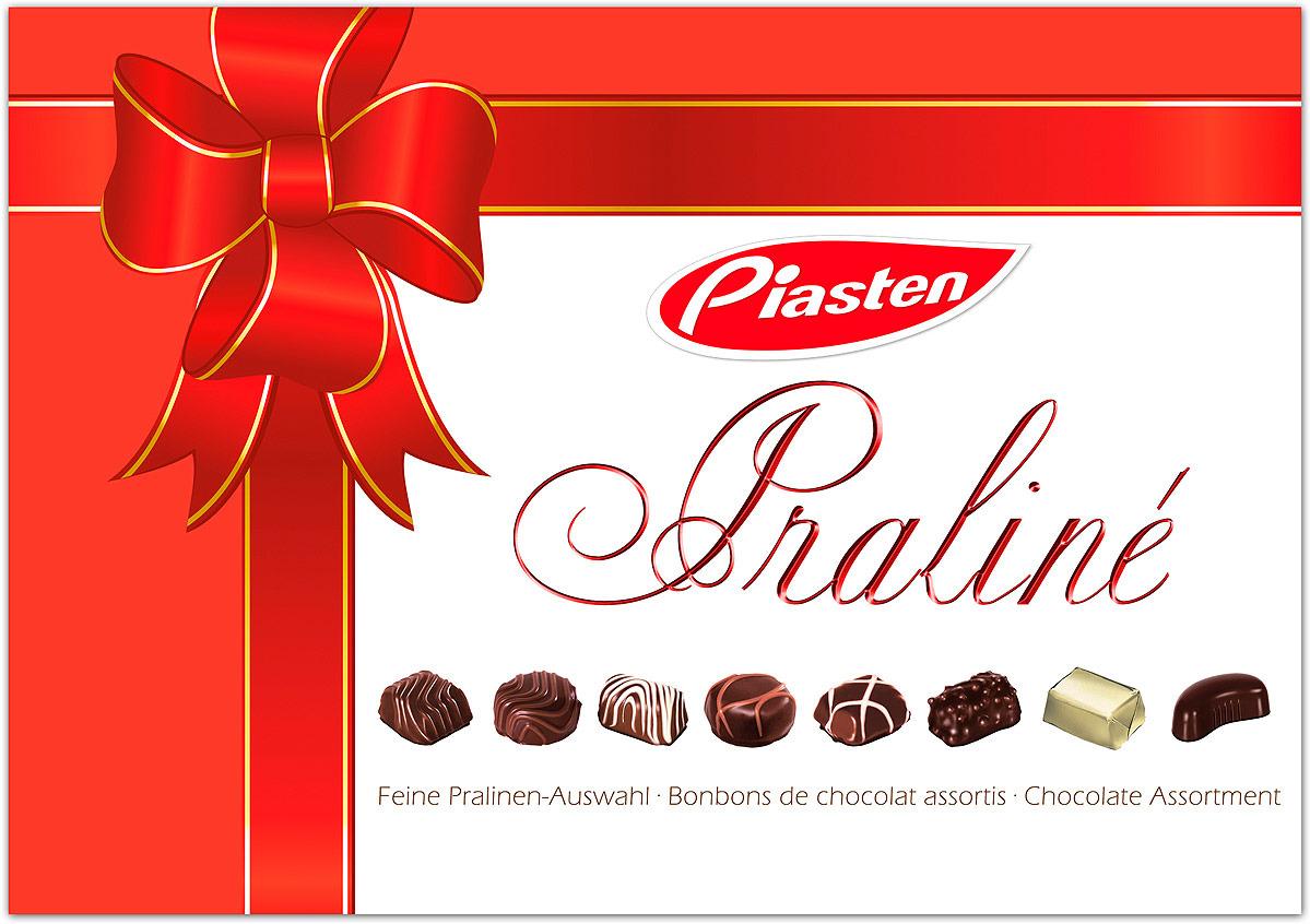 Конфеты Piasten Ассорти Весна Банты, из молочного шоколада, красный, 180 г