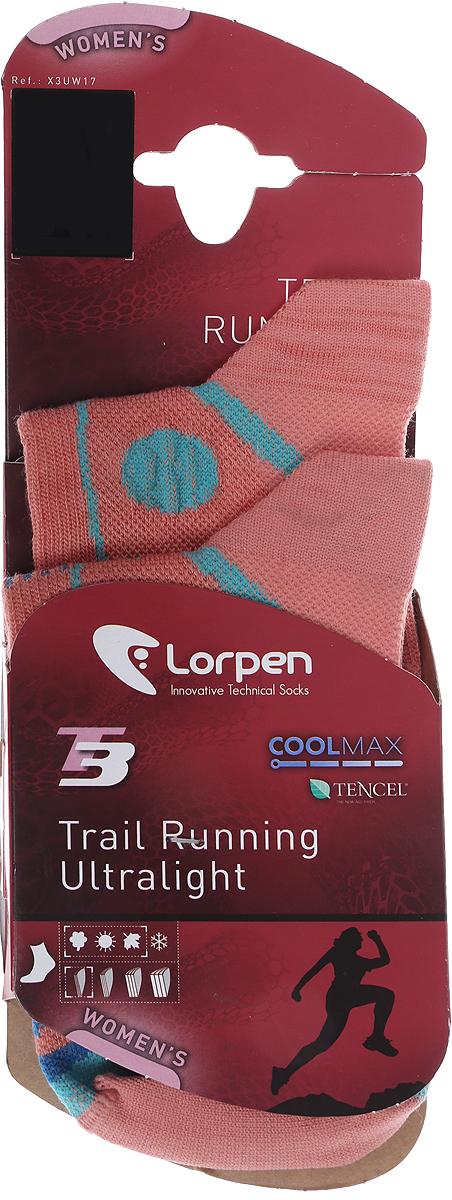 Термоноски женские Lorpen, цвет: розовый, голубой. X3UW_2433. Размер S (34/37)X3UW_2433Тонкие немахровые носки для бегунов по пересеченной местности. Отлично отводят влагу с поверхности стопы. Защита лодыжек и защита от мозолей обеспечивается благодаря непрерывной линейной структуре, обеспечивающей носку идеальное облегание стопы. Разработаны специально для женщин. Связаны с применение технологии T3: внутренний слой из гидрофобного полиэстера Coolmax быстро отводит влагу с поверхности стопы, средний слой из натуральной целлюлозы эвкалипта (Tencel) хорошо впитывает влагу. Внешний слой из нейлона предотвращает появление мозолей и обеспечивает максимальную износоустойчивость. Свободное плетение в области подъема и свода стопы обеспечивает проветривание во время занятий. Специальная структура в области сгиба обеспечивает свободу движения и препятствует образованию складок. Уникальный плоский шов на носке не натирает пальцы ног, что даёт дополнительный комфорт.