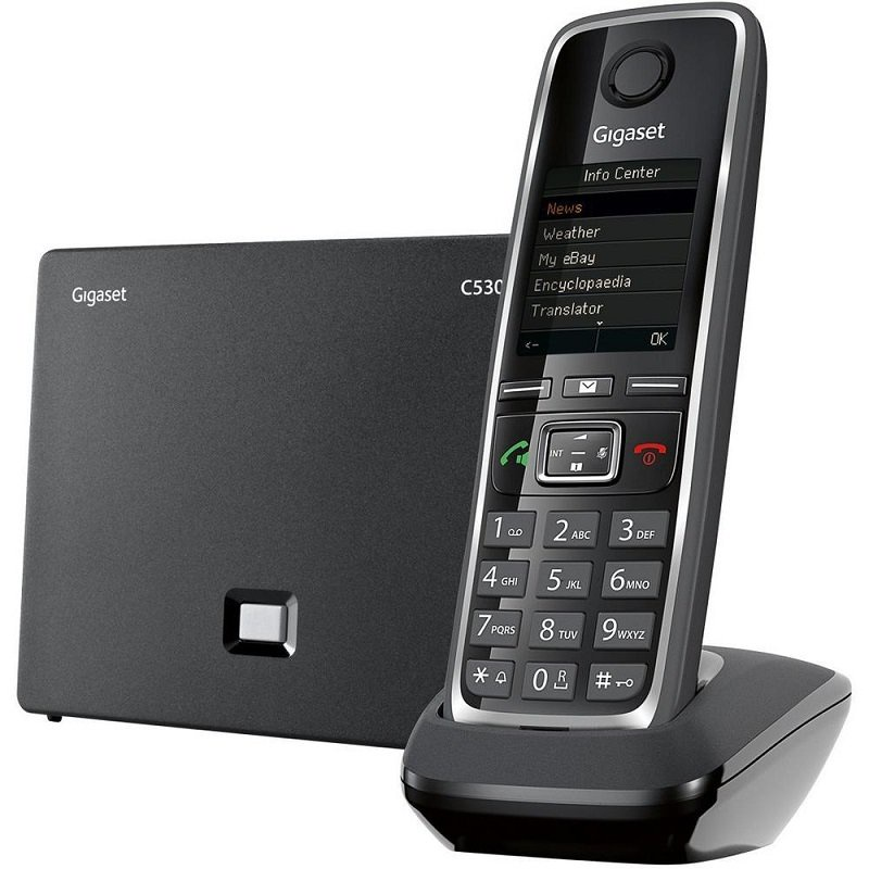 SIP телефон Gigaset IP/Dect C530AIP, S30852-H2526-S301, черный goip voip gateway gsm converter sip ip phone adapter ip pbx goip 1 sms gateway imei change voip telephones
