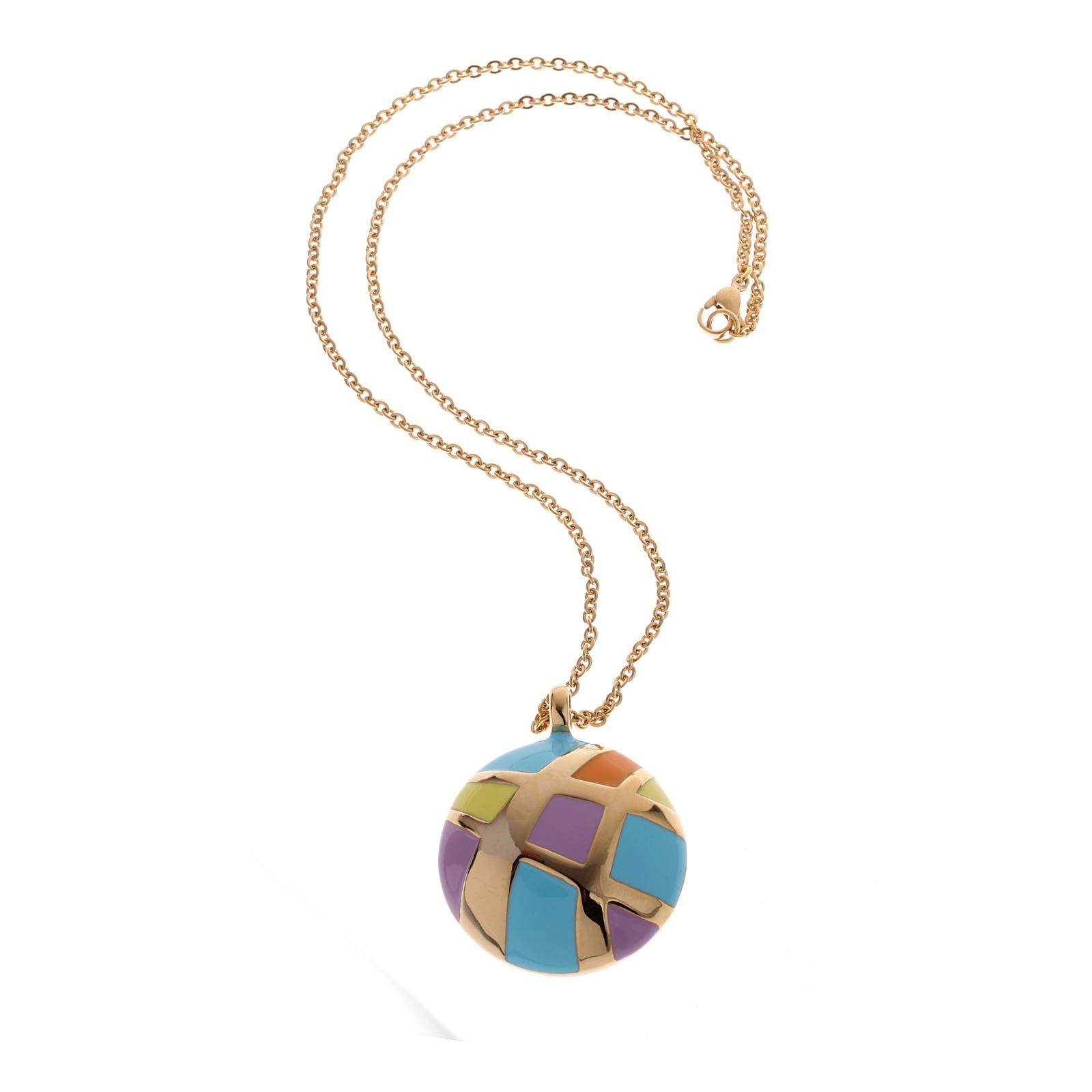 Колье/ожерелье бижутерное Fiore Luna Колье, Гипоаллергенный сплав, Эмаль, 45 см, BP01412-2 M, голубой, желтый, сиреневый, оранжевый, зеленый