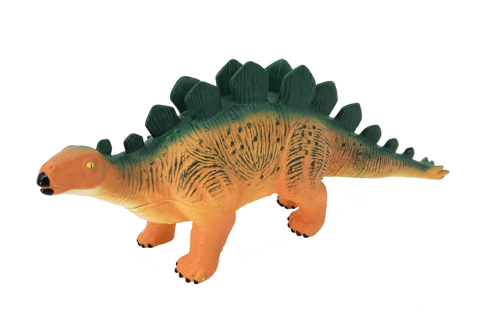 Фигурка АБВГДЕЙКА Динозавр Стегозавр, PE0004, 29 см зеленый, желтый